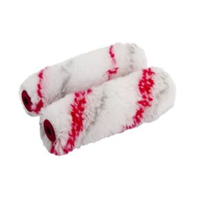 Mini Paint Roller Sleeves - Double Red Stripe 10 Pack
